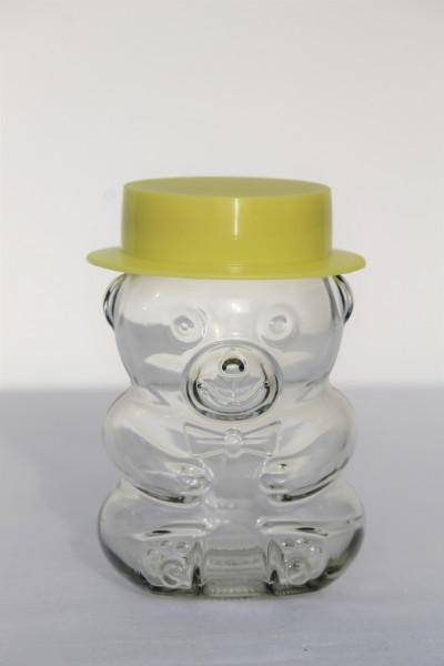 Bärchen Glas mit Metalldeckel und gelbem Hut. Inhalt: 285 ml