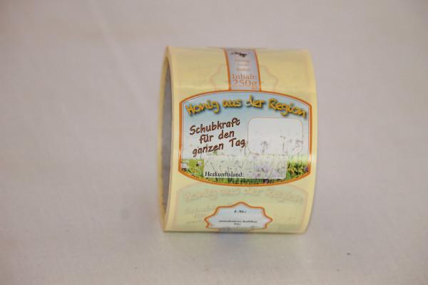 """Etikett """"Honig aus der Region"""" für 500 g Glas"""